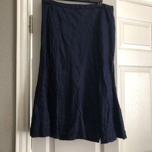 Navy Linen J. Crew Skirt